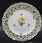 Kpm Berlin Hand Painted Lily And Butterflies Basketweave Bows Reticulated Plate