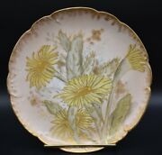 Haviland Handco Limoges Hand Painted Yellow Cactus Flowers And Gold 8 1/2 Plate