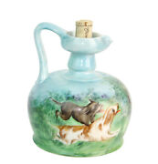 Hand Painted Antique Whiskey Jug Decanter Hunting Dogs Running In A Meadow