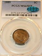 1889 Indian Head Cent Pcgs Ms65rb Rare With Cac Golden Red Great Luster Pq G868