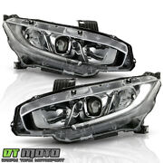 2016-2020 Honda Civic Halogen Type Led Drl Projector Headlights Lamps Left+right