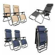 2 Pieces Zero Gravity Lounge Chairs Recliner + Utility Tray Outdoor Beach Patio