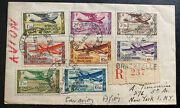 1951 Brazzaville French Congo Airmail Cover To New York Usa Stamp Set Scc1-8