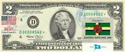 2 Dollars 2003 Star Stamp Cancel Flag Of Un From Dominica  Value 500