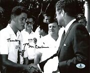 Bill Clinton Thanks Authentic Signed Bandw 8x10 Photo Meeting Jfk Bas A00309
