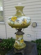 Vintage Hurricane Lamp Green With Yellow Flowers Very Large 30 Tall Gwtw