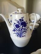 Rare Royal Crown Derby Festival Blue Coffee Pot 2 Cups And 4 Saucers