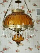 Vintage Hurricane Hanging Lamp Large Ceiling Mount Amber With Prisms