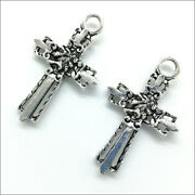 40pcs Cross Sword Antique Silver Charms Pendants For Earrings Necklace 3622mm