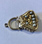 14k Gold Large Victorian Charm/ Pendant Purse Opens Pearls Gemstone 9.7 Grams