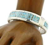 Early David Freeland Natural Blue Turquoise .925 Silver Inlaid Cuff