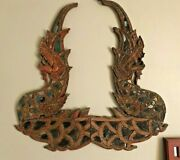 Antique Oriental Carved Wooden Panels With Winged Dragons