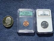 1947 Lincoln Wheat Penny Ms 66 Red Rd Icg + 1974 S Ike Dollar +1980 S Sba Ms 66