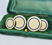 Antique 14ct Gold And Co. Cufflinks Royal Blue Enamel 17.39g Present Gift
