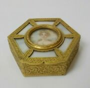 19th C. French Gilt Bronze And Mother Of Pearl Trinket Box Painting Queen Louise