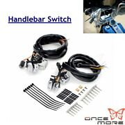 Aluminum Motorcycle Handlebar Switch W/115cm Wiring Harness For Harley Xl 883