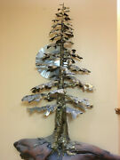 Giant Sequia Metal Tree Sculpture Wall Mounted Brass Stainless And Cedar Base