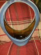 Art Glass Basket, Italy Murano Fratelli Toso Opalescent Blue Opaline