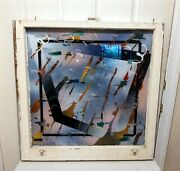 """Antique """"new York City"""" 19th Century Window Frame For Modern Abstract Painting."""