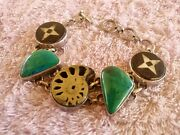 Vintage Sterling Silver Ammonite Fossil And Stones Toggle Bracelet