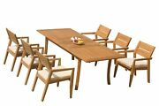 7pc Grade-a Teak Dining Set 94 Rectangle Table 6 Vellore Stacking Arm Chairs