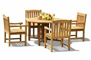 5pc Grade-a Teak Dining Set 48 Round Butterfly Table 4 Devon Arm Chairs Outdoor