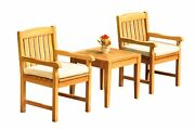 3pc Grade-a Teak Dining Set Noida Square Side Table 2 Devon Arm Chairs Outdoor