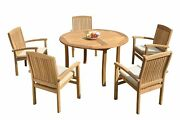 6pc Grade-a Teak Dining Set 52 Round Table 5 Wave Stacking Arm Chairs Outdoor