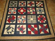 Vintage Highly Collectible Machine Pieced And Hand Quilted Patriotic Sampler