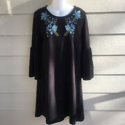 New Ladies Large Karri Blue Knit Dress Black Floral Embroidery 3/4 Bell Sleeve