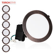6pcs 18w 8 Dimmable Slim Led Recessed Panel Wafer Downlight, Oil Rubbed Bronze