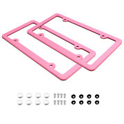 2pc Premium Pink Slim 2-hole License Plate Frame With Screws/fasteners And Caps