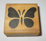 Butterfly Rubber Stamp Comotion Vintage Wood Mounted Background Butterflies