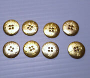 Round Usn Gold Tone Flat Back 4 Holes 3/4 Buttons-set Of 8 Plastic