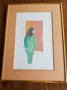 Vintage Pen And Ink Drawing 'parrot' Signed By Artist Larry Crawford