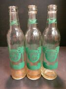 Vintage Lot Of 3 Royal Palm 10 Oz. Clear Glass Bottles Syracuse, Ny Very Good