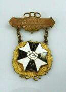 Vintage Odd Fellows Ladies Auxiliary Patriarchs Militant Plp Medal Brooch Pin Ny