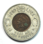 1901 Indian Head 1c North Pan America Encased Penny Cleveland Good Luck