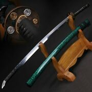 Japanese Samurai Sword Katana Oil Quenched Damascus Folded Steel+clay Tempered