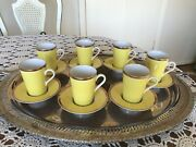Fitz And Floyd Ff Set Of 7 Expresso Coffee Cups W/ Recessed Saucers Vintage 14 Pcs