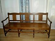 Antique Church Pew Hardwood Courthouse Long Bench 6 Ft. Long 72l X 36h X 21w.