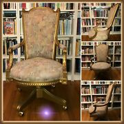 Japanese High Back Antique Wood Carved Desk Chair Gold Leaf And Embroidery Fabric