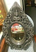 Antique Oriental Pierce Carved Wall Hanging Mirror