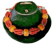 Moroccan Vintage Amber Coral Necklace Beads Women Jewelry Handmade Berber Resin