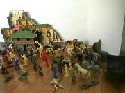 Vintage Fort Horse Cowboys And Native Americans Toy Game Army Men