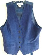 Womens Western Cowboy Leather Vest Size Medium Blue Leather Snap Buttons