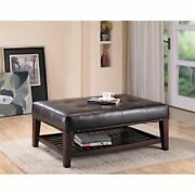 Charming Leather Ottoman Brown