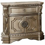 Marble Top Nightstand With One Drawer And Two Door Shelf Antique Champagne