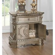 Wood Top Nightstand With One Drawer And Two Door Shelf Antique Champagne