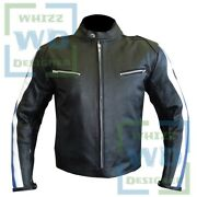 Bmw 3874 Blue Leather Biker Jacket Motorcycle Gear Racer Motorcycle Armour Coat